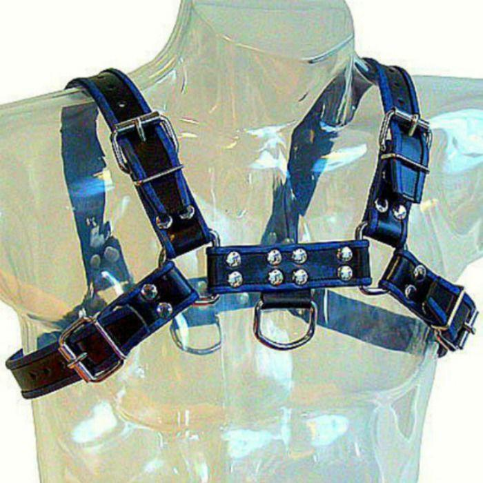 Metal Hard Chest Bulldog Harness Black/Blue Leather