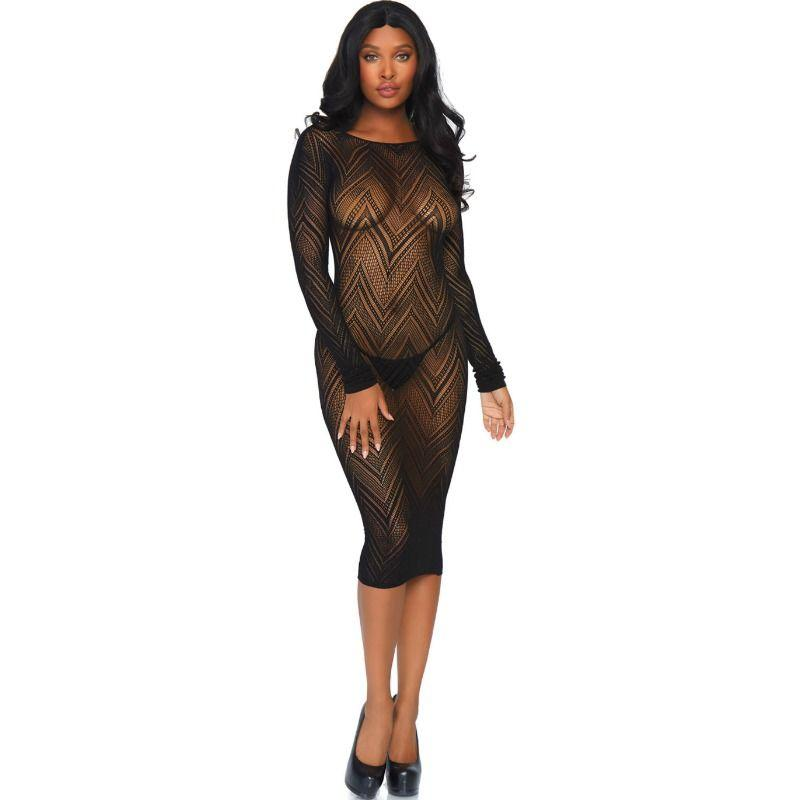 Leg Avenue Long Sleeved Net Dress One Size One Size