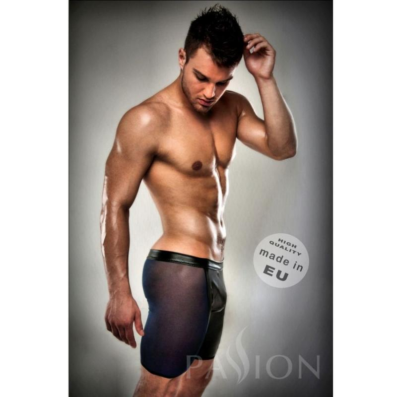 Boxer Leather Fetish Black Clear  By Passion Men Lingerie. S