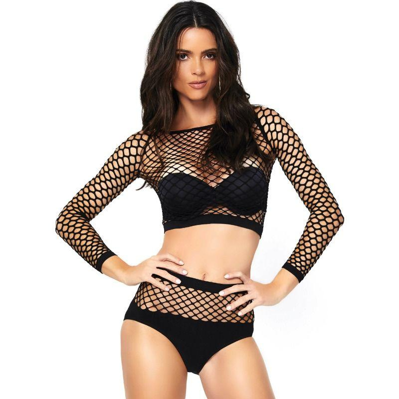 LEG AVENUE 2 PIECES SET NET LONG SLEEVED TOP AND HIGH WAISTE