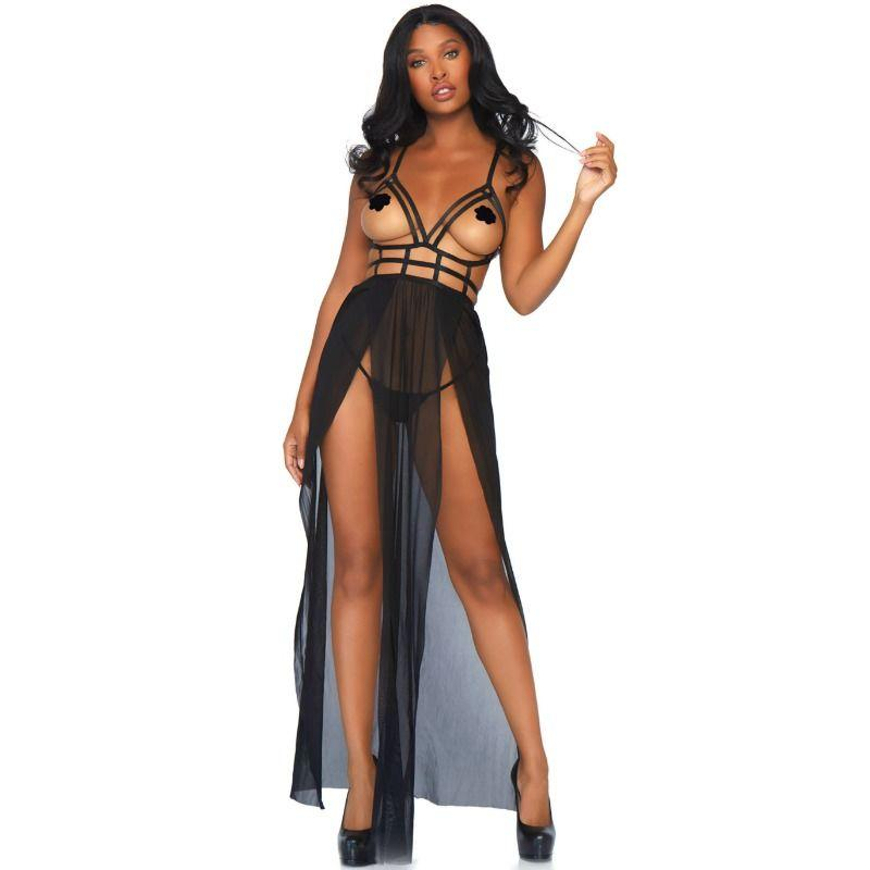 LEG AVENUE CAGE MAXI DRESS AND THONG S/M