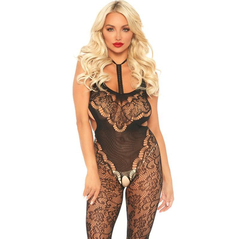 LEG AVENUE LACE BODYSTOCKING WITH CUT OUT ONE SIZE