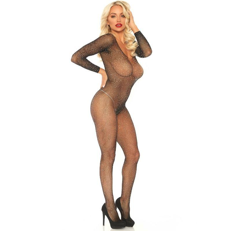 LEG AVENUE FISHNET SLEEVED BODYSTOCKING ONE SIZE