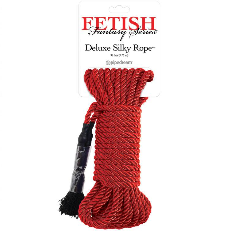 FETISH FANTASY SERIES DELUXE SILK ROPE RED - lano