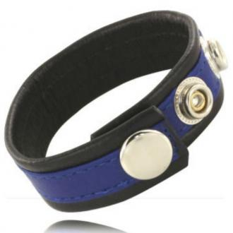 Metal Hard - Cock And Ball Strap With Snaps - Black And Blue