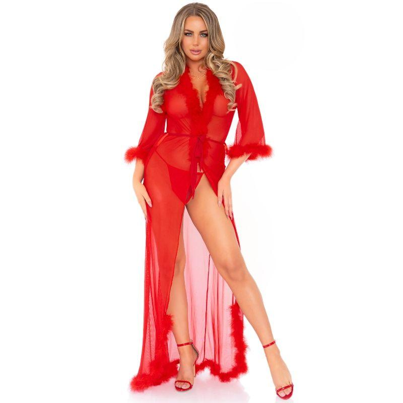 Leg Avenue Marabou Trimmed Long Robe Red One Size
