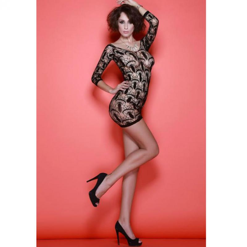 Queen Lingerie - Net Sexy Dress Half Sleeve Black