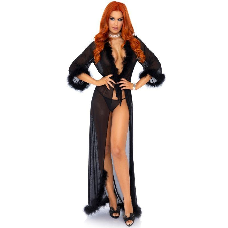 Leg Avenue Marabou Trimmed Long Robe Black One Size