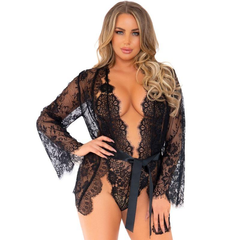Leg Avenue Teddy And Robe Set L