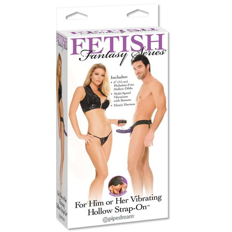 Fetish Fantasy Vibrating Hollow Strap-On For Her Or Him Purp