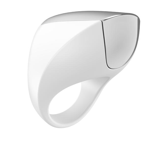 Ovo - A1 Rechargeable Ring White & Chrome - vibračný krúžok
