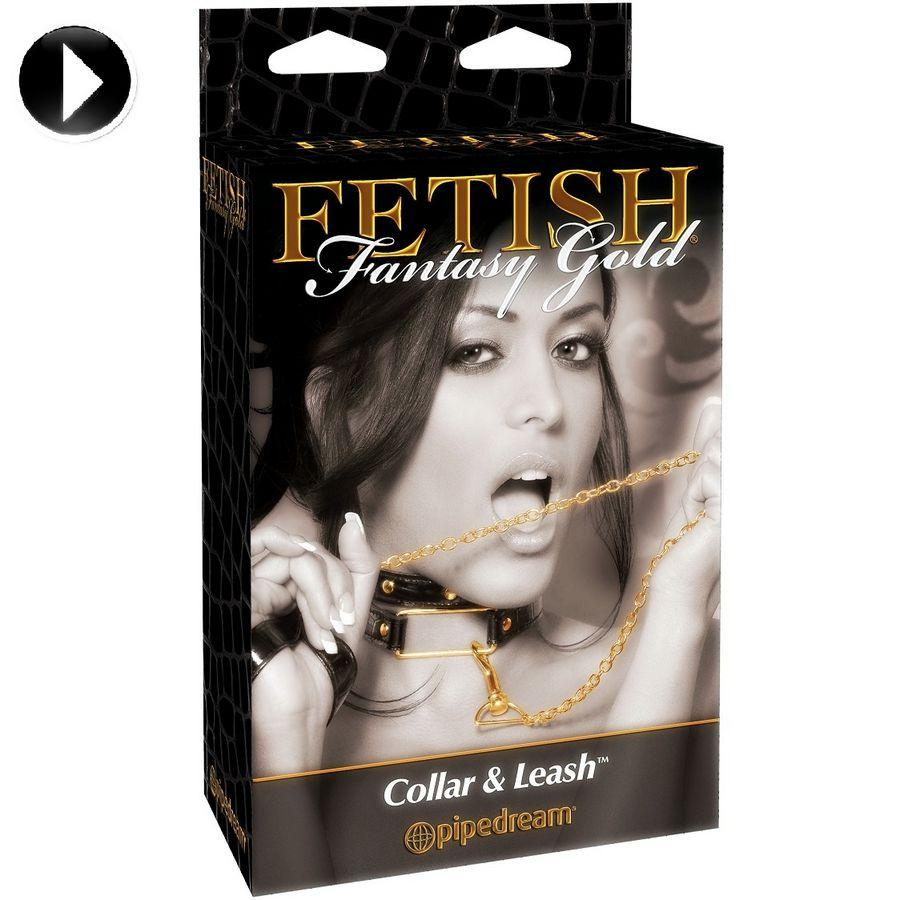 FETISH FANTASY GOLD COLLAR AND LEASH - obojok