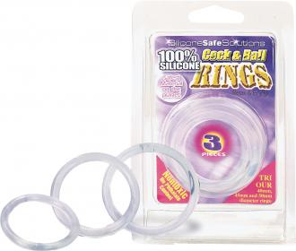 "Silicone ""Cock&Ball Rings"" Set Transparent - Erekčné Krúžky"
