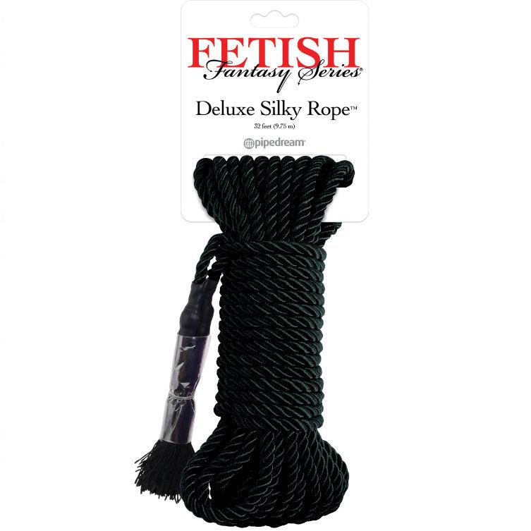 FETISH FANTASY SERIES DELUXE SILK ROPE BLACK - lano