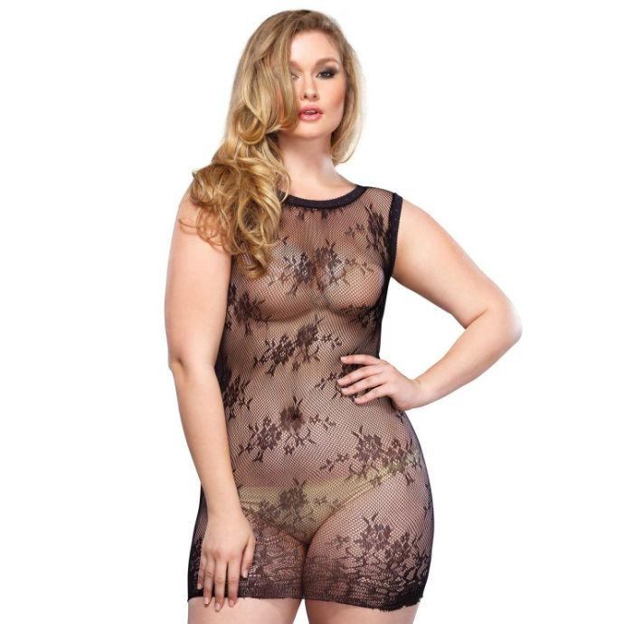 LEG AVENUE FLORAL LACE MINI DRESS PLUS SIZE - šaty