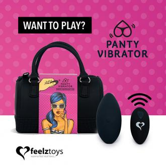 Feelztoys - Panty Vibe Remote Controlled Black - vibrátor do nohavičiek