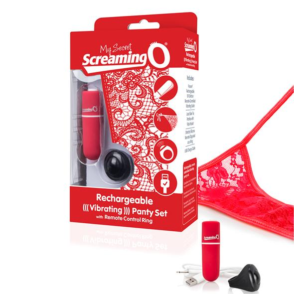 The Screaming O - Charged Remote Control Panty Vibe Red - vibračné nohavičky