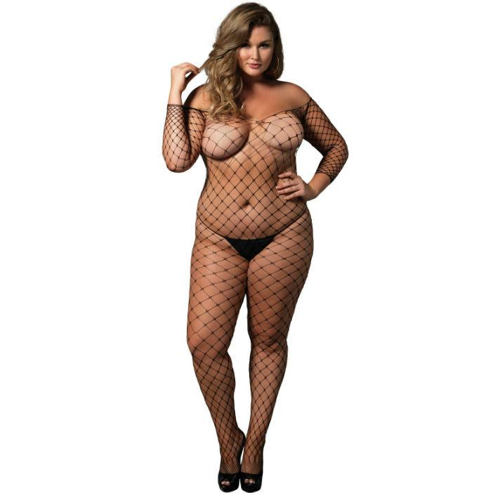 LEG AVENUE OFF THE SHOULDER BODYSTOCKING - čierny